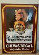 Vintage Chivas Regal Scotch Whiskey Sign / Advertisement Spanish Wall Table