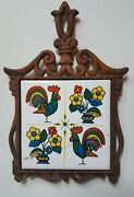 Retro Vintage Chenny Rooster And Flowers Cast Iron Trivet Footed Hot Plate W Tile