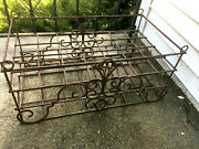Vintage Rustic Rusty Iron Plant Stand - Hanging Wine Rack - Table 24 X 16 X 13