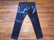 Dsquared² Super Rare Blue Denim And Shiny Black Coated Pleather Front Jeans 50 34