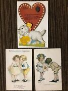 Antique Valentine Postcards Victorian St Valentines One W/ Cat And Charm Attached