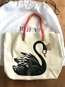 Brand New Red Valentino Leather Tote Bag Contrast Ivory N Orange Swan Logo 800