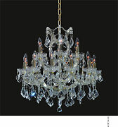 New 19-light Chandelier D30 X H28 Gold Ceiling Lighting Fixture With Crystal