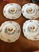 4 Rooster Quimper Plates