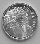 50 1 Gram .999 Pure Silver Red Cloud Chief Of Oglala Dakota Sioux Indians 2b