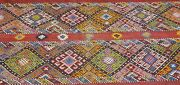 Rare Large Antique 1940and039s Camel Bag Embroidered Panels Wool Tribal Rug 7x7ft