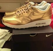 New Nike Air Max 1 Id Gold, Size 10.5, V2, Turtle, Bred, Concord, Scott, Low, Db