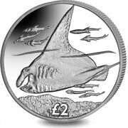 2018 British Indian Ocean Territory Andpound2 Manta Ray Crown Coin In Capsule