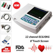 New 12 Channel Touch Screen Electrocardiograph Ecg Ekg Machine Pc Software Paper