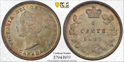 1885 Canada Five Cents Silver - Pcgs Ms62 Large 5 Variety - Nice Original Toning