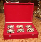 Wow Wall Street Bull Custom-made Frazer And Haws Sterling Silver Napking Rings