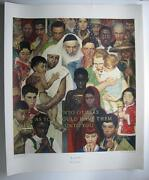 Rare Norman Rockwell 1972 Collotype The Golden Rule Ltd Printing Art Poster