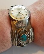 Huge Sterling Silver And Turquoise Navajo Native American Watch Cuff Stunning