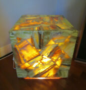 1970 Green Onyx Cube Side Table With Light