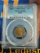 1863 1c Fs 801 S10 One Cent Minor Variety Pcgs Ms62 Ddr Indian Head Coin Rare