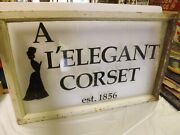 Land039 Elegant Corsets Advertising Store Old Early Window Sign Womenand039s Ladies Wear