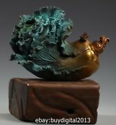29 Cm Pure Bronze Chinese Cabbage Cricket Wealth Fengshui Art Ornament Sculpture