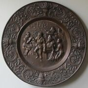Antique 17 Red Copper And Bronze Decorative Wall Hanging Plate Breughel Scene