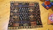 Beauiful Vintage 1950-1960s Natural I Dye Wool Pile Armenian Area Rug 4x4ft
