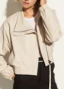 1250 Authentic Vince Women's Sand Beige Sold Out Asymmetrical Leather Jacket Xs