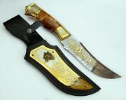 Knife Damascus Steel Work Of Art Gilding Engraving Knife Collection