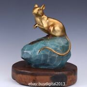24 Cm Chinese Bronze Wood Mouse Rat Mice Lucky Wealth Fengshui Animal Sculpture