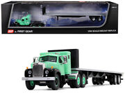 Mack B-61 With Sleeper Cab And 48and039 Flatbed Trailer Antique Green 1/64 Diecast Mo