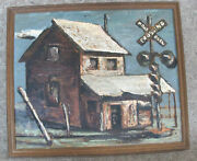 Cecil Casebier 1952 Signed Railroad House Crossing Framed Oil Painting