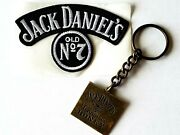 Nos Jack Daniels Tennessee Honey Whiskey Embroidered Patch And Brass Key Chain
