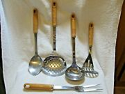5 Pc Inox Rostfrei Spoon Spatula Ladle Fork Masher Wood Handle Stainless Utensil