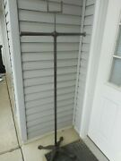 Antique Japanned Finish T Bar Clothing Display Rack With Cast Iron Base And Sign