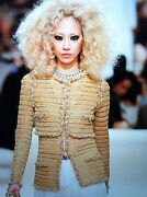 15c New Tags Dybai Amazing Blue Gold Jacket Gold Pearl Trim Fr38 7k