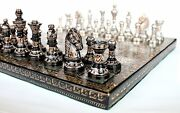 Collectible Full Brass Chess Set 14 Hand Carved With 100 Brass Pieces/coins.