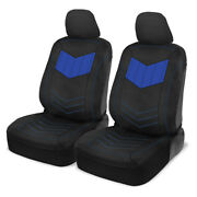 Front Car Seat Covers Motor Trend Blue/black Pu Leather Sideless Set Truck Suv