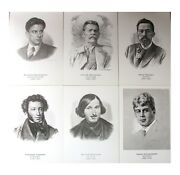 Lot Of 32 Postcards Russian Personalities Famous Poet Literature Art Russian Vtg