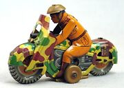 Vintage Tin Toy Motorcycle - Japan Milatary Camouflage With Shield And Gun