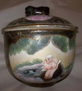 Antique Japanese Satsuma Figured /floral Lidded Bowl/planter /pot -signed