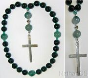 Anglican Episcopal Rosary Prayer Beads Green Jade, Tree Agate And Sterling Silver