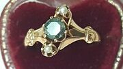 Antique 10k Yellow Gold Genuine Green .40ct Solitaire Diamond And Pearl Ring
