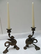 Rare Vintage Antique Bronze Winged Griffin Dragon Clawed Candlesticks C 1800s