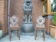Rare Matching Pair Of Carved Oak Lion Head Chairs Antique 19th Century Throne