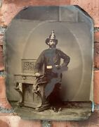 C1880andrsquos Full Plate Tintype Of Manchester New Hampshire Fireman In Uniform Helmet