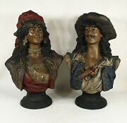 Antique Pottery Bust Blackamoor Gypsy Busts Pair Signed R.sturm