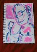Mixed Media A4 Ink And Paint Navy Blue And Bright Pink Portrait