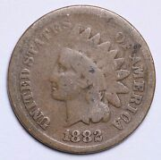 1882 Indian Head Cent Penny Circulated Grade About Good / Good 95 Copper Coin