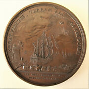 France- 1763-3 Masted Warship Leaving Port -large Bronze By Duviviers-ext Rare