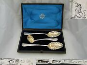Rare Cased Geo Ii Hm Sterling Silver Sifter And Spoons