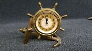 Vintage Plymouth 8 Day Clock - Brass Shipwheel And Anchor