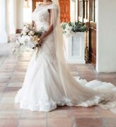 Tulle/lace Custom Made Wedding Dress W/ 45andrsquo Train Length