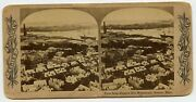 Boston Mass. From Bunker Hill , Ships In Harbor Vintage Stereoview Photo